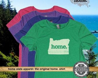 Oregon Home. tshirt- Womens Red Green Royal Pink Purple