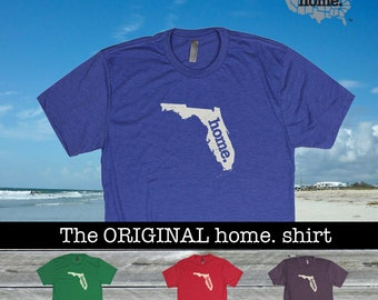 Florida Home. shirt- Men's/Unisex Tri Blend red green blue purple