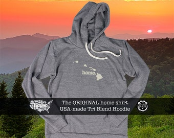 Tri Blend Pull Over Hoodie Hawaii Home Sweatshirt