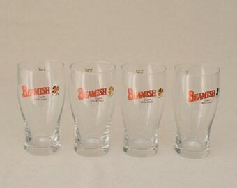 Rare Set of 4 Beamish Genuine Irish Stout Beer Tulip Glass 0,5 lt with Golden Sharmrock