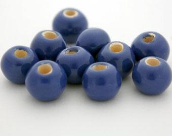 5 Mykonos Greek Ceramic Beads in Blue Enamel - 12 mm