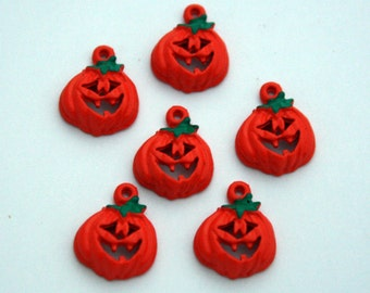 6 Cast Metal Jack-O-Lantern Charms - Orange Halloween Pumpkin Charms - 13 mm