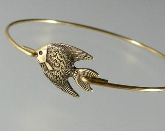 Gold Batik Angel Fish Bangle Bracelet, Gold Bangle Bracelet, Gold Angelfish Bracelet, Fish Bracelet, Tropical Beach Jewelry  (194G.)