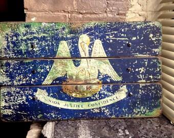 Louisiana State Flag Distressed Barn Wood Art