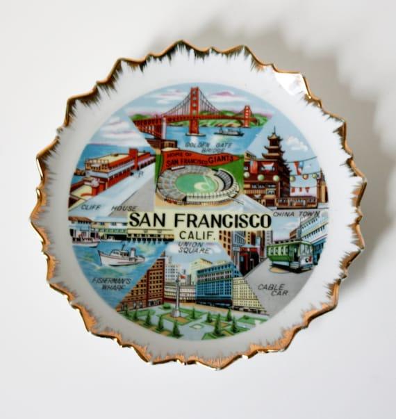 Vintage San Fransisco California Souvenir Plate Bradley