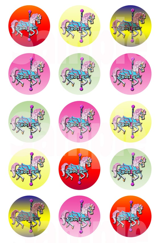 Horse Carousel 1 Bottle Cap Images 4 X 6 Digital By