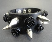 Black Leather Spike & Roses Double Bracelet