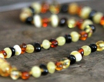 """FREE SHIPPING Baltic Amber Baby Teething Calming Round Beaded Necklace -- """"The Seashore"""""""