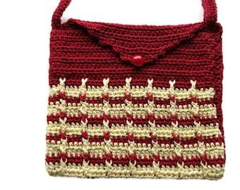 Crochet Shoulder Purse Mini Bag Purse Pouch OOAK handmade Small Red n Yellow Crochet Mini Bag