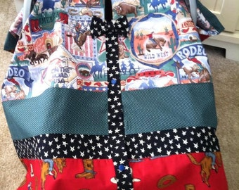 Car Seat Canopy / Tent / Nursing Cover / Blanket - Rodeo with Polka Dots and Stars