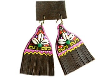 Handpainted XL leather earrings Tribal style!!!!