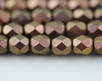 25 Copper Rose Polychrome 6mm Faceted Round Czech Glass Fire Polished Beads FP-6M-6