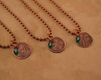 Personalized Etched Copper Initial Necklace