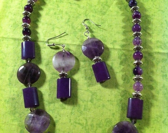 Amethyst & Agate Necklace and Earring Set