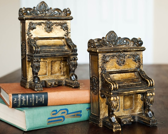 Vintage piano bookends pair antique style by windstonevintage - Piano bookends ...