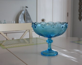 Turquoise Blue Compote Indiana Glass Company