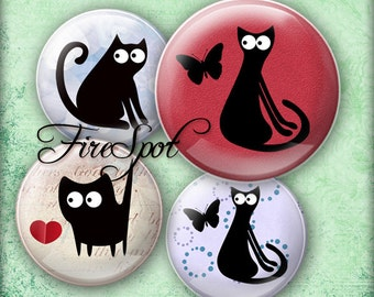 Cartoon Black Cat - Digital Collage Sheet 20mm, 18mm, 16mm, 14mm, 12mm circles Animal,Bottlecaps,Glass Pendants,Scrapbooking,Jewelry