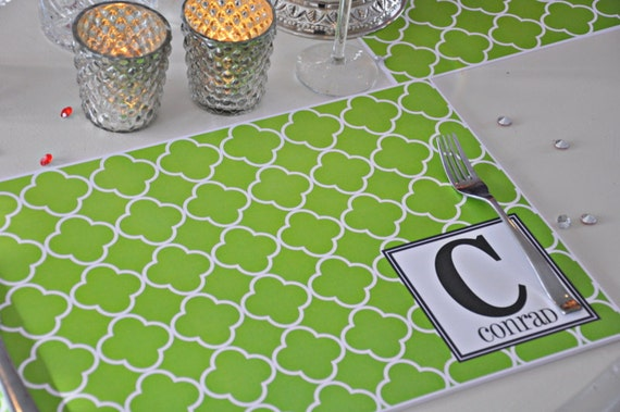 personalized paper placemats Laminated personalized placemats are made to order with your family name, childs name or monogram the custom personalized placemats are a fun way of getting the kids to help set the table every night the placemats easily wipe clean use your personalized placemats for art projects too.