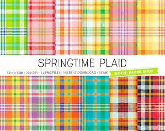 Colorful Plaid Digital Paper, Preppy Plaid Backgrounds, Pink Plaid Patterns, Bright Plaid Scrapbook Paper, Digital Plaid PNG Files