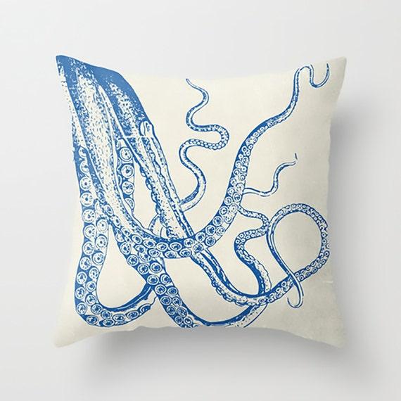 Octopus Pillow Nautical Decor Decorative Pillow by HappyPillowShop
