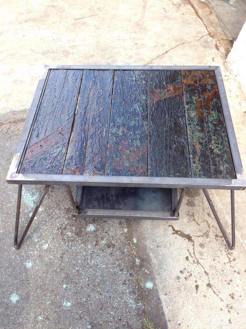 Custom Made Metal And Wood Coffee Table End By Emericksemporium