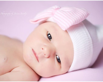 White Hospital Newborn Beanie with Pink and White Bow, Newborn Hat!  Double Ply, Round Top. Baby Girl Hat. Hospital gift.