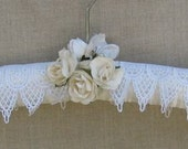 Wedding dress hanger, ivory, satin, padded, embroidery design trims, roses, bride, bridesmaid, mother of the bride, custom