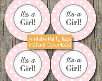 It's a Girl! Printable Baby Shower Cupcake Toppers Favor Tags Baby Shower Party Labels Gift Bag Tags Powder Pink Grey INSTANT DOWNLOAD - 051