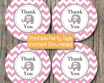 INSTANT DOWNLOAD Thank You Tags Elephant Baby Shower Birthday Party Printable diy Girl Gum Pink Grey Chevron Favor Labels Gift Bag PDF -091