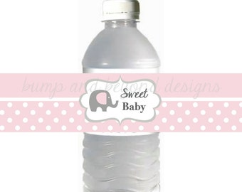 INSTANT DOWNLOAD Baby Shower Decorations Water Bottle Labels Sweet Baby Powder Pink Grey  Elephant DIY Printable Baby Shower Favors 040