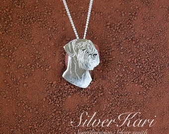 Giant Schnauzer, necklace in sterling silver