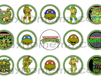 INSTANT DOWNLOAD One Inch 4x6 Bottle Cap Images: Ninja Turtle