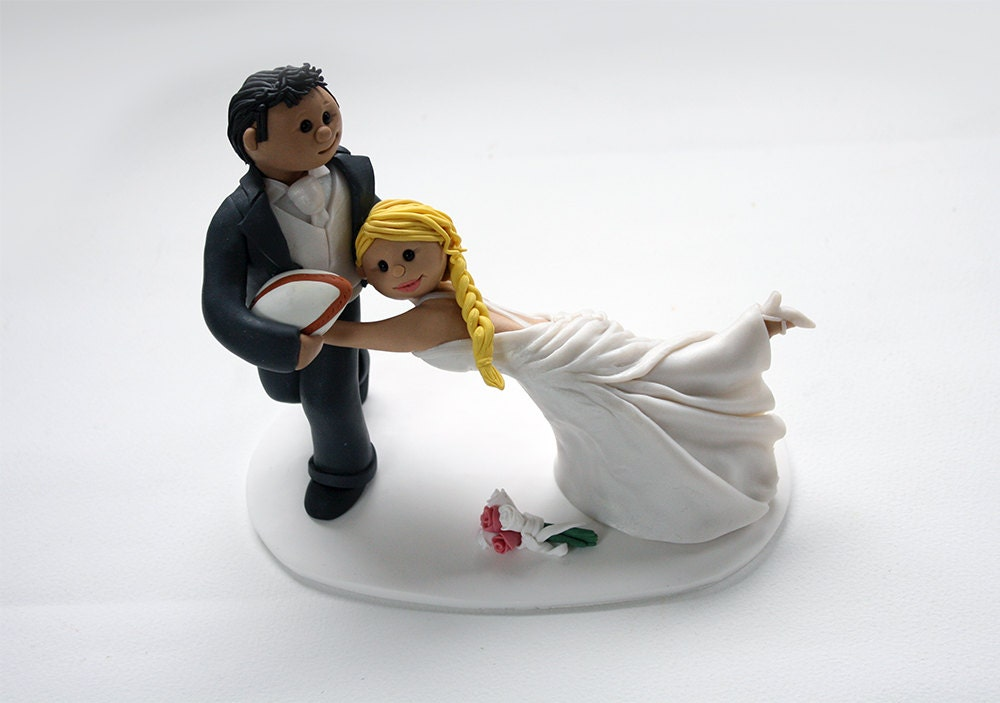 rugby wedding cake toppers rugby tackle wedding cake topper with additional props 19468