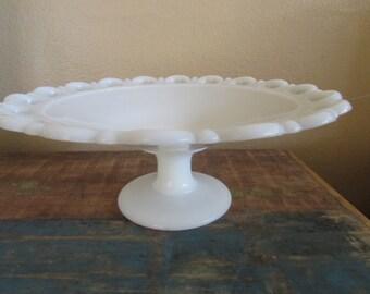"Vintage White Compote Bowl  Milk Glass Wedding décor 11"""