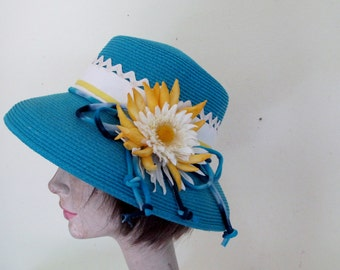 Summer Hat Straw Hat Slouchy Hat Turquoise Hat Daisy Hat Garden party Hat Floral Derby Hat