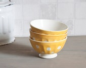 Set of 3 vintage french Digoin mini bowl - Yellow with white dots Café au lait bowl - Shabby chic - Rustic french country