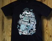 Folk Bird Black T-shirt - Teal Print