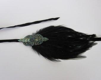 GREEN 1920s headpiece, fascinator, green feather, 1920s headband, gatsby dress, annees 20, flapper dress, 1920s dress, bridal headpiece