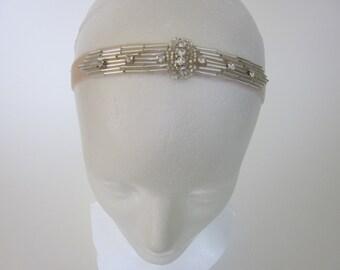 1920s Hair Accessories Great Gatsby, silver beaded Headband, Stretch headband, elastic headband Great Gatsby Art Deco 1920s Beaded Headpiece