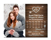 Photo Wood Save The Date Magnet or Card DIY PRINTABLE Digital File or Print (extra) Heart and Arrow Save The Date Calendar Save The