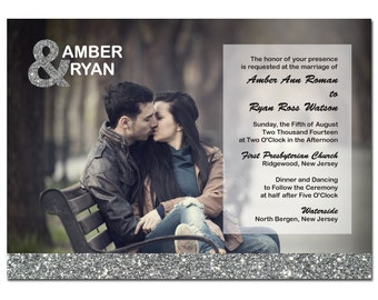 Silver Glitter Wedding Invitation with Photo & Ampersand Card DIY PRINTABLE Digital File or Print (extra)