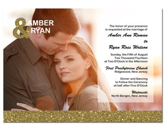 Gold Glitter Wedding Invitation with Photo & Ampersand Card DIY PRINTABLE Digital File or Print (extra)