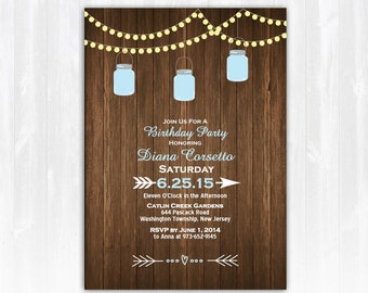 Mason Jar Birthday Invitation  DIY PRINTABLE Digital File or Print (extra) String Lights Birthday Invitation Wood Birthday Invitation