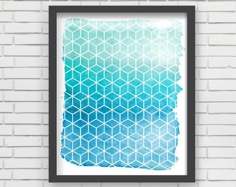 Geometric Watercolor Art Print Home Decor - Teal Watercolor Print - 5x7 or 8x10