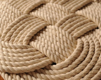 Rope rug rope knot nautical decor cotton rope mat navy for Rope bath mat
