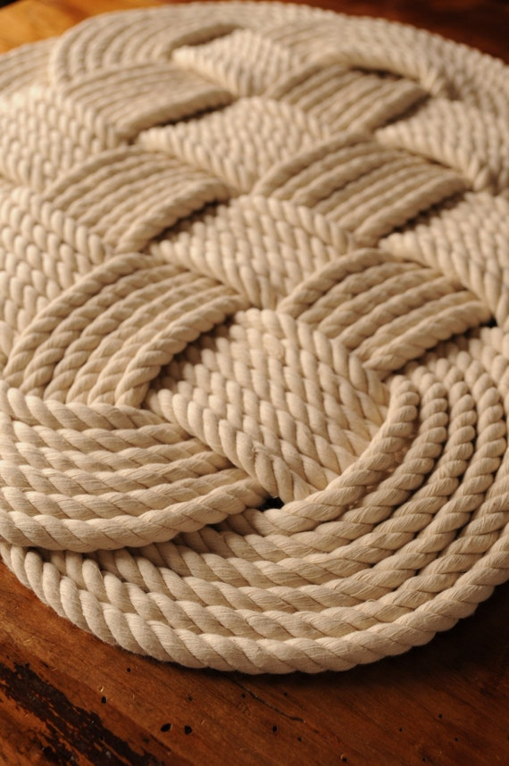 Nautical decor cotton bath mat rope rug nautical decor for Rope bath mat
