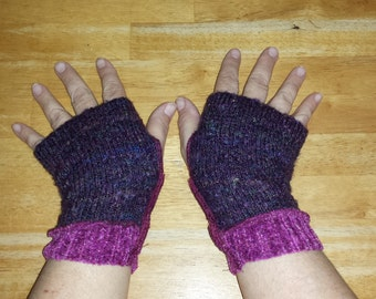 CUSTOM: OOAK Upcycled Fingerless Gauntlet Hand Wrist Warmers Any Color