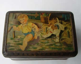 Old French Tin Box, French Tin with Hinged Lid, Collectible Tin, Vintage Children Tin, Dog Tin