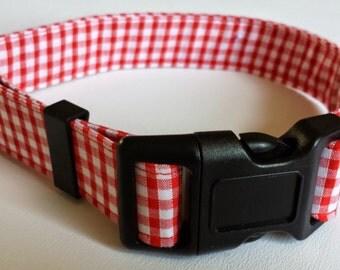 Dog Collar - Red Gingham Fabric