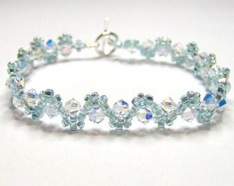 Crystal swarovski bicone bracelet, crystal bracelet, seed bead bracelet, elegant bracelet, wedding bracelet, bridal bracelet BR002